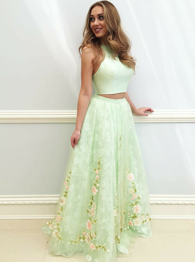 Two Piece Crew Neck Floor-Length Mint Prom Dress with Appliques