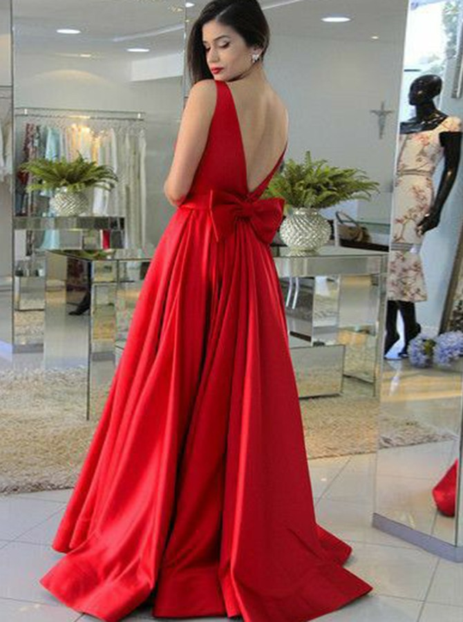 A-Line Bateau Backless Sweep Train Red Prom Dress with Bowknot