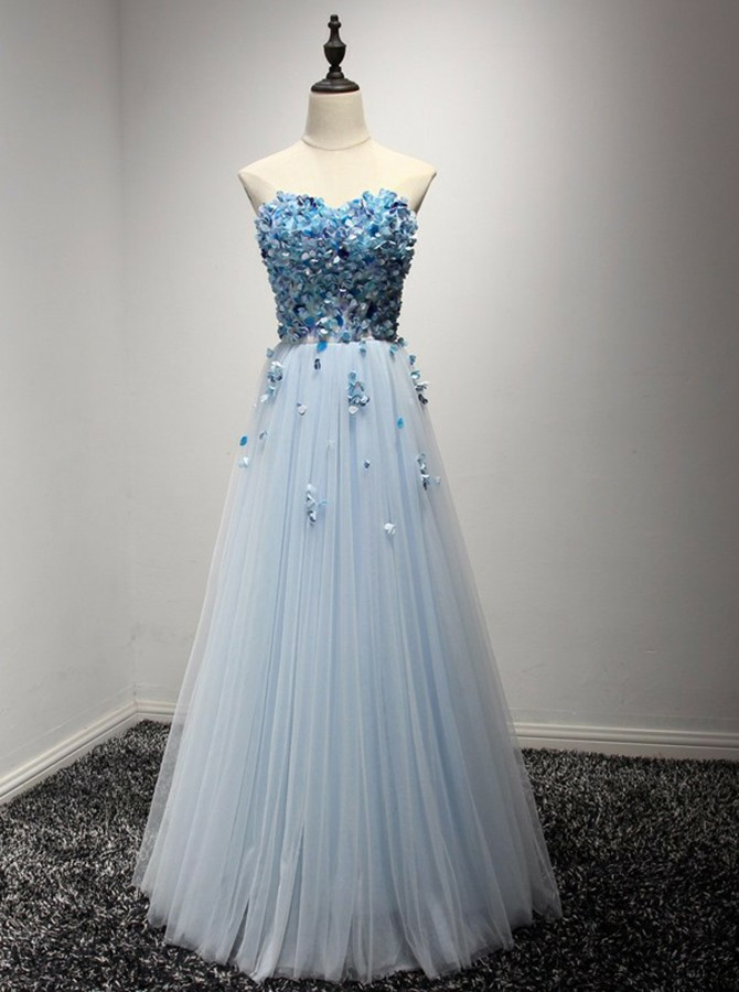 A-Line Sweetheart Floor-Length Light Blue Prom Dress with Appliques