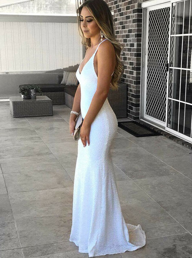 Mermaid Spaghetti Straps Backless Sweep Train White Sequied Prom Dress