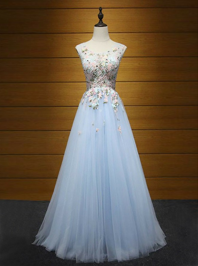 A-Line Round Neck Floor-Length Light Blue Prom Dress with Appliques