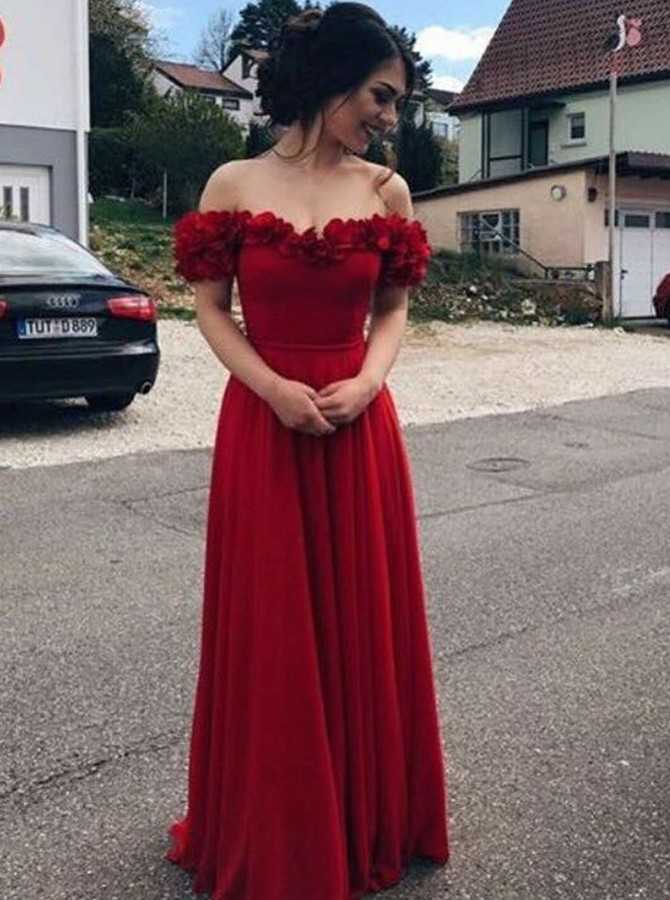 A-Line Off-the-Shoulder Sweep Train Burgundy Prom Dress with Appliques
