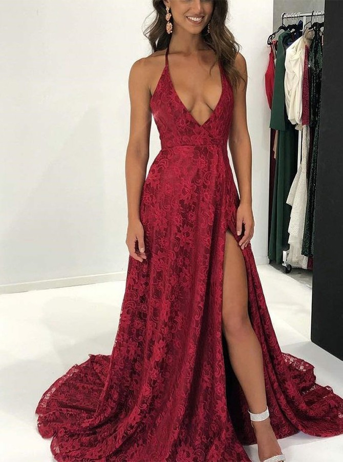 A-Line Halter Sweep Train Backless Bungundy Lace Split Prom Dress