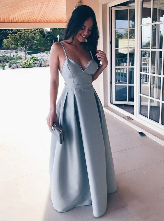 A-Line Spaghetti Straps Floor-Length Backless Blue Satin Prom Dress