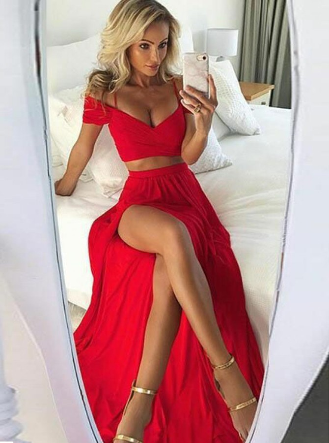 Two Piece V-Neck Short Sleeves Red Chiffon Prom Dress with Split