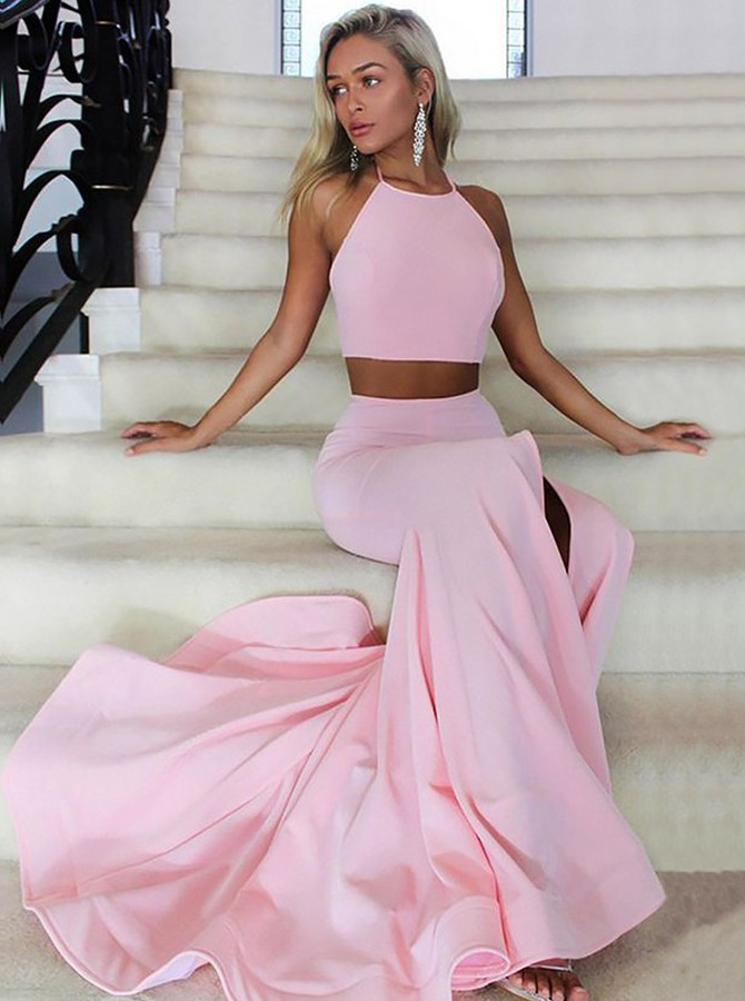 Backless Two Piece Halter Long Pink Mermaid Prom Dress with Split