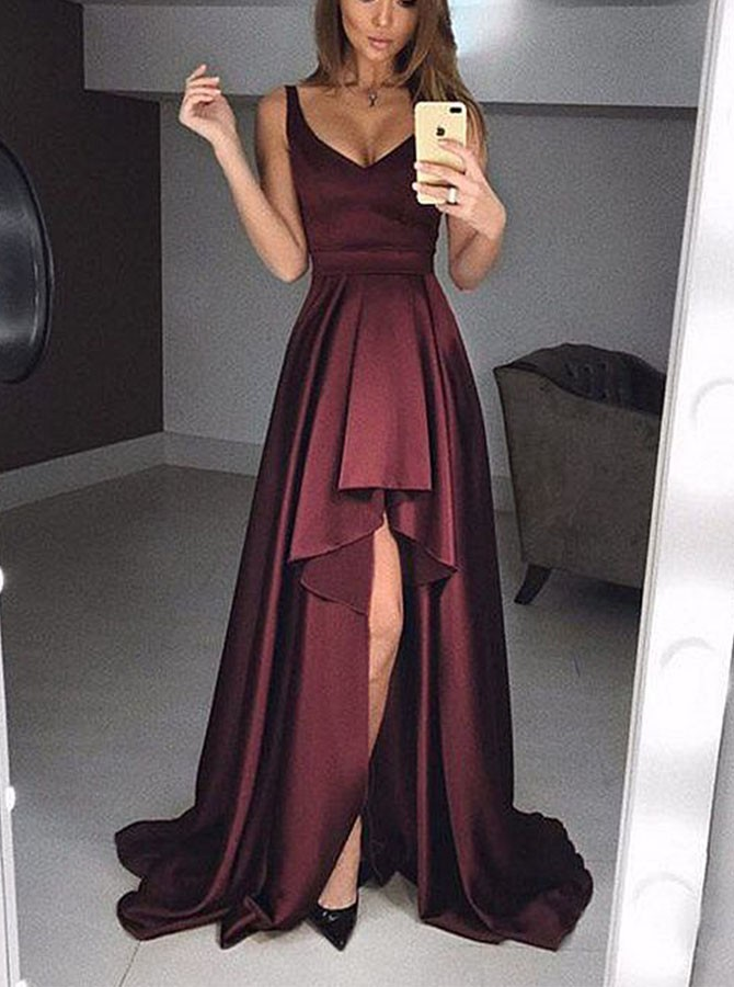 A-Line Scoop High-Low Satin Prom Dress, Evening Dress with Pleats
