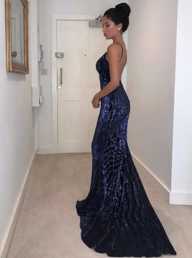 Mermaid Spaghetti Straps Backless Sweep Train Navy Blue Sequined Prom Dress