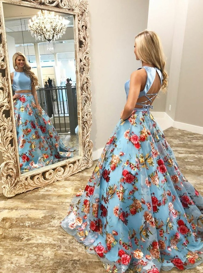 Two Piece Crew Open Back Sweep Train Light Blue Printed Prom Dress