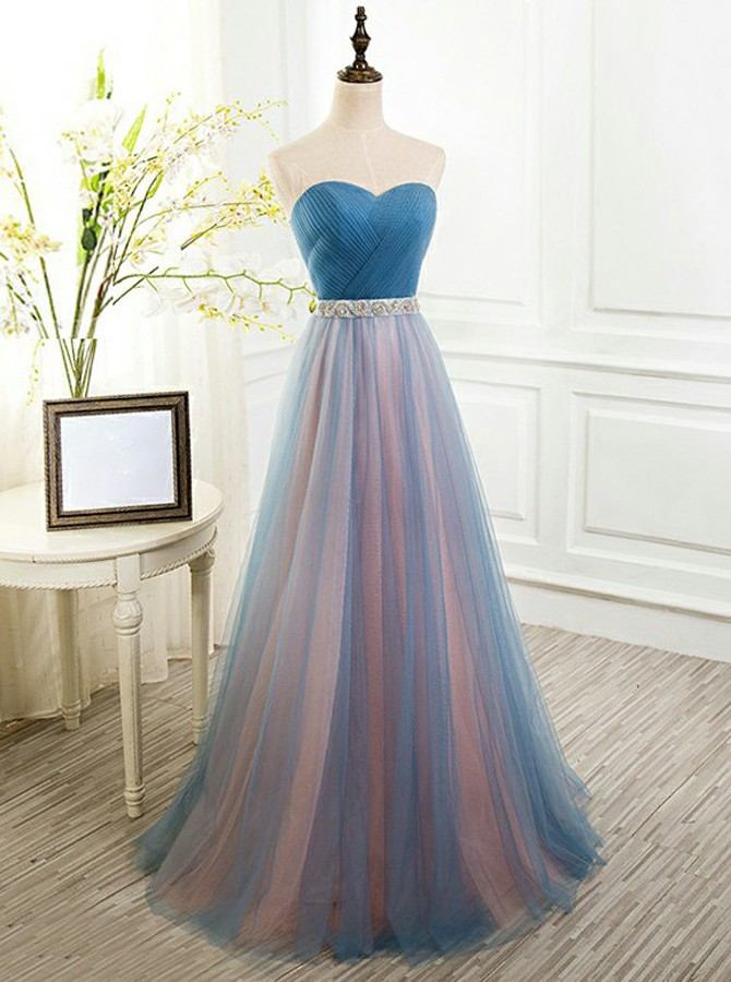A-Line Sweetheart Floor-Length Blue Tulle Prom Dress with Beading