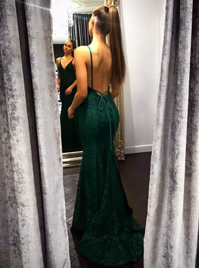 Mermaid V-Neck Backless Sweep Train Hunter Lace Dress with Beading