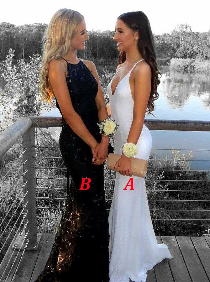 Mermaid V-Neck Criss-Cross Straps Sweep Train White Lace Prom Dress