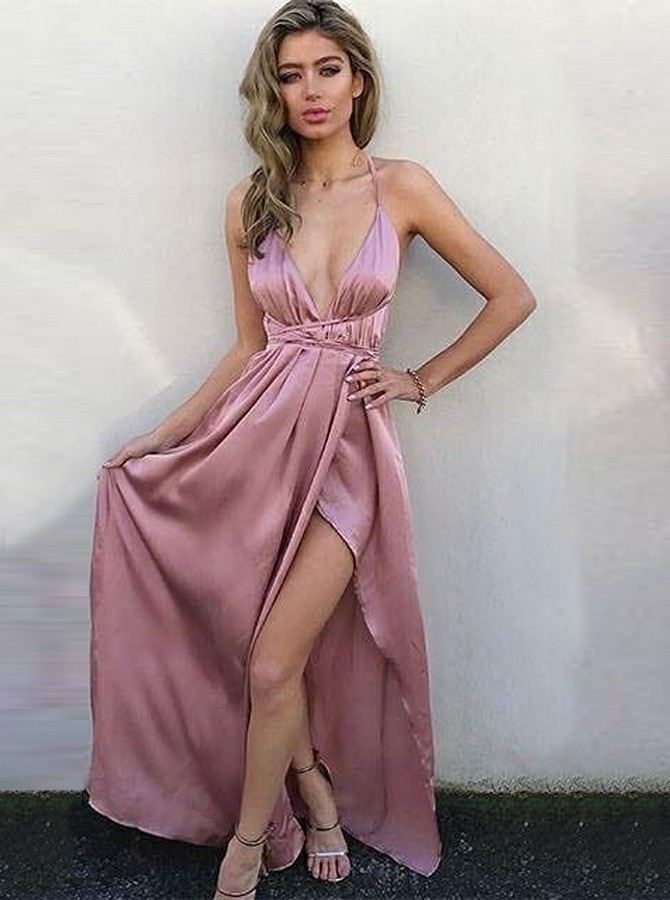 A-Line V-Neck Criss-Cross Straps Floor-Length Rose Pink Prom Dress with Split