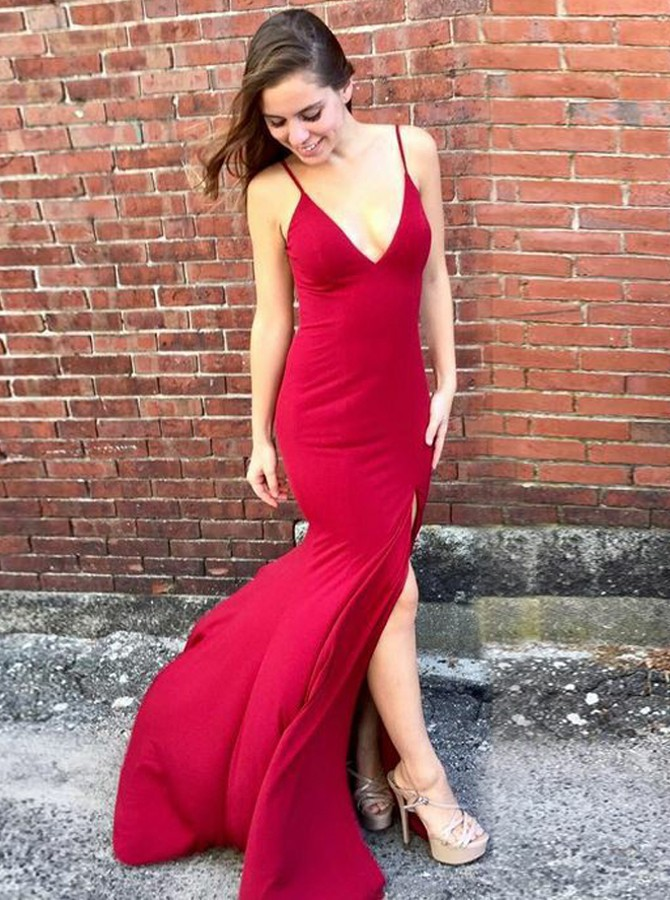 Mermaid Spaghetti Sraps Backless Sweep Train Red Prom Dress with Split