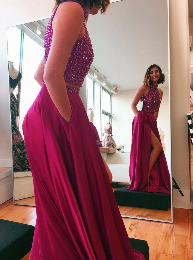 Two Piece High Neck Sweep Train Fuchsia Prom Dress with Beading Pockets