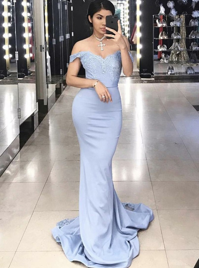 Mermaid Off-the-Shoulder Sweep Train Blue Prom Dress with Appliques