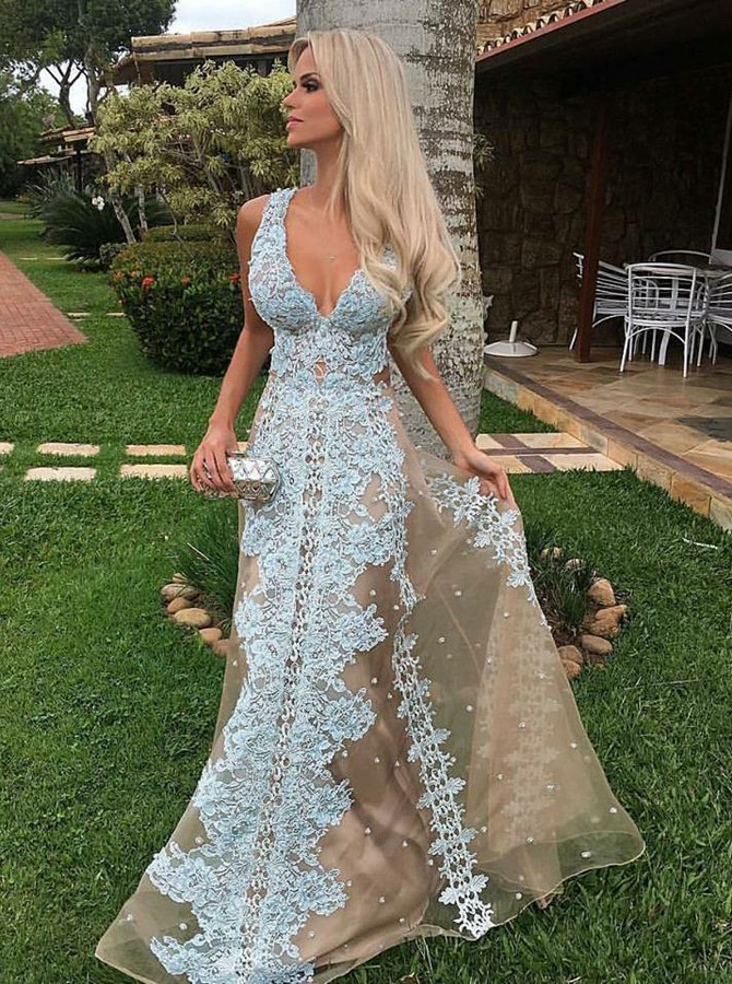 A-Line V-Neck Floor-Length Champagne Tulle Prom Dress with Appliques