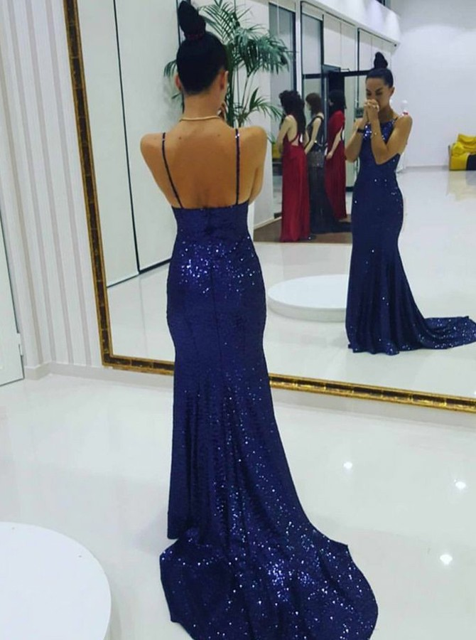 Mermaid Spaghetti Sraps Sweep Train Royal Blue Sequined Prom Dress
