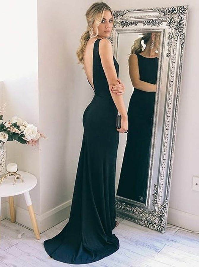 Mermaid Crew Backless Sweep Train Black Elastic Satin Prom Dress