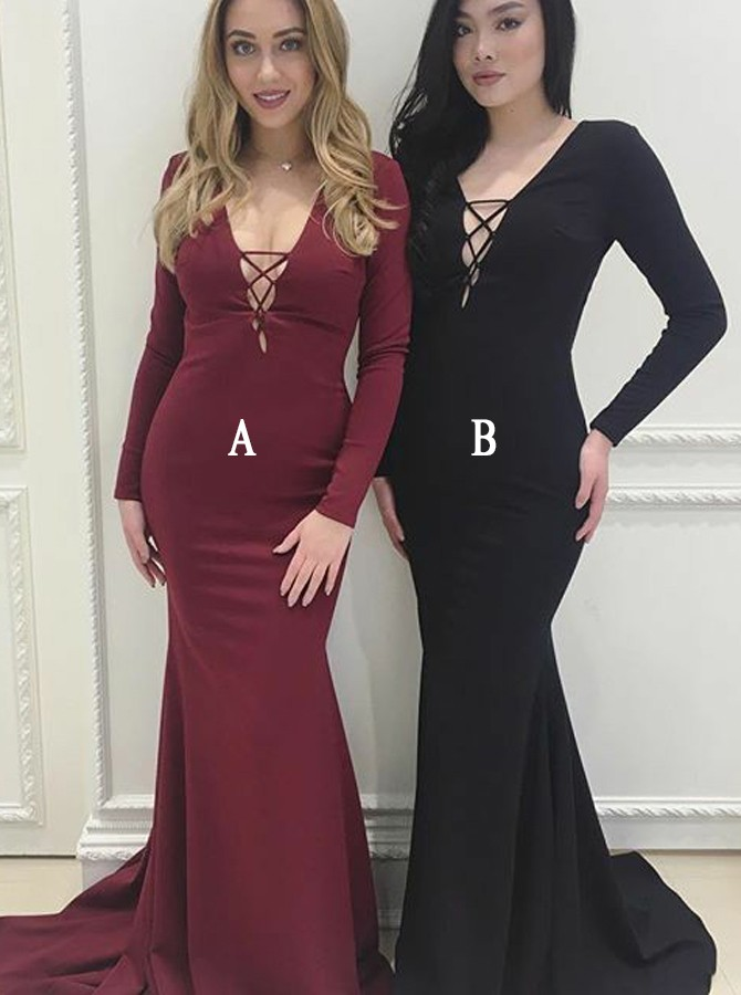 Mermaid V-Neck Long Sleeves Lace-Up Front Sweep Train Burgundy Prom Dress