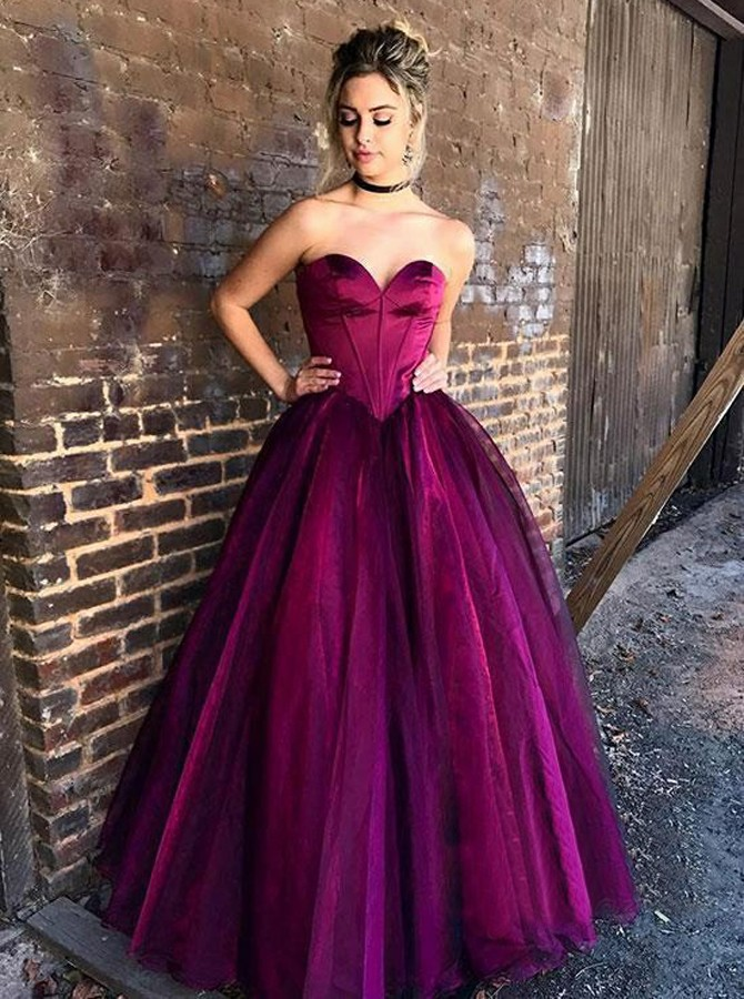 Ball Gown Sweetheart Floor-Length Lace-UP Purple Tulle Prom Dress