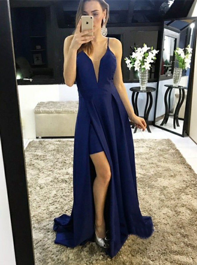 A-Line Scoop Backless Sweep Train Navy Blue Prom Dress with Split