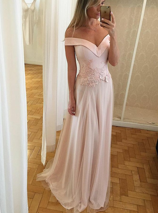 A-Line Off-the-Shoulder Floor-Length Pink Prom Dress with Appliques