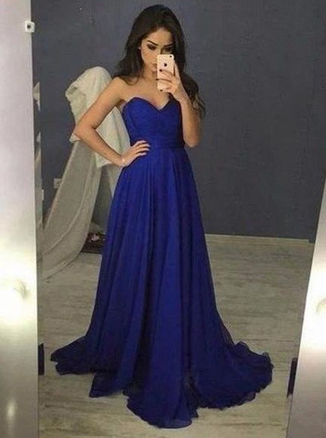 A-Line Sweetheart Lace-Up Sweep Train Royal Blue Chiffon Prom Dress