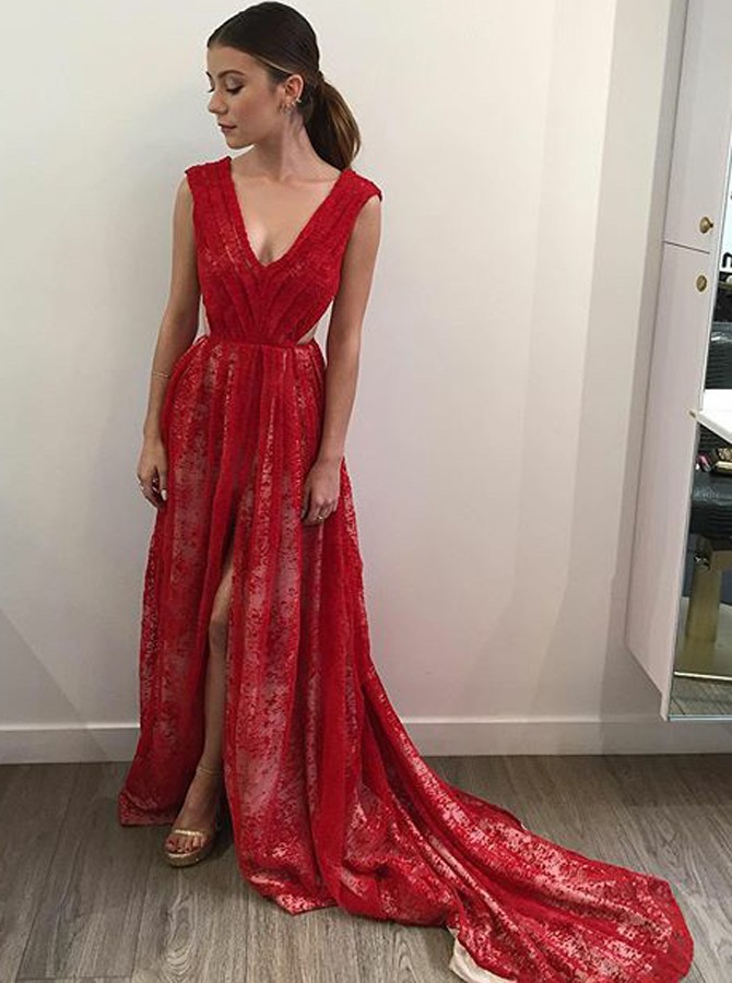 A-Line V-Neck Long Backless Red Lace Prom Dress with Split