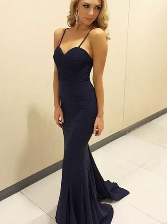 Mermaid Spaghetti Straps Sweep Train Black Prom Dress with Lace