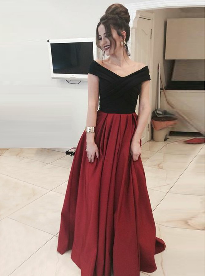 A-Line Off-the-Shoulder Floor-Length Burgundy Satin Prom Dress