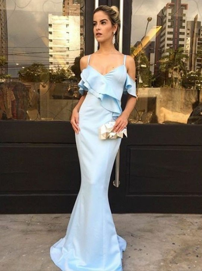 Mermaid Spaghetti Straps Short Sleeves Floor-Length Blue Prom Dress