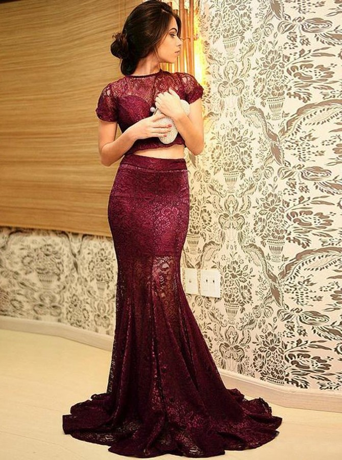 Mermaid Round Neck Short Sleeves Sweep Train Wine Lace Prom Dress