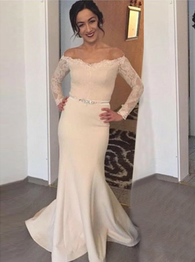 Mermaid Off-the-Shoulder Long Sleeves Sweep Train Prom Dress with Lace