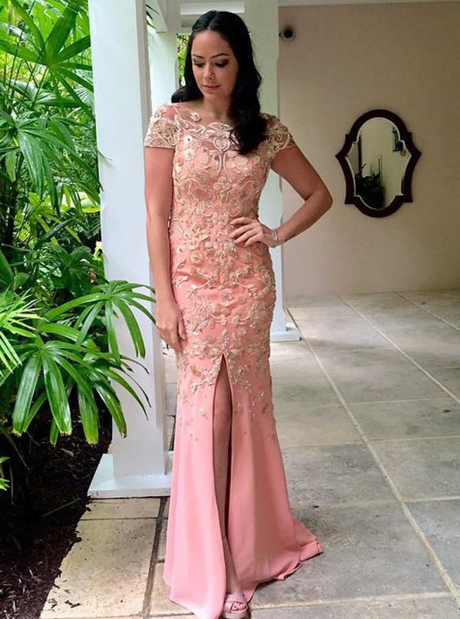 Sheath Bateau Cap SLeeves Floor-Length Pink Prom Dress with Appkiques