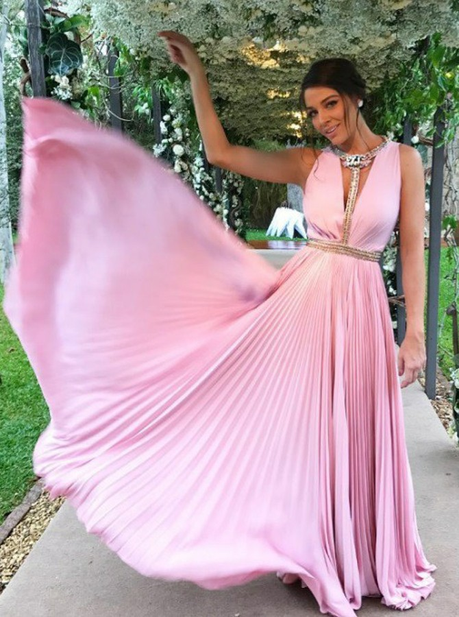 A-Line Deep V-Neck Floor-Length Pink Chiffon Prom Dress with Beading