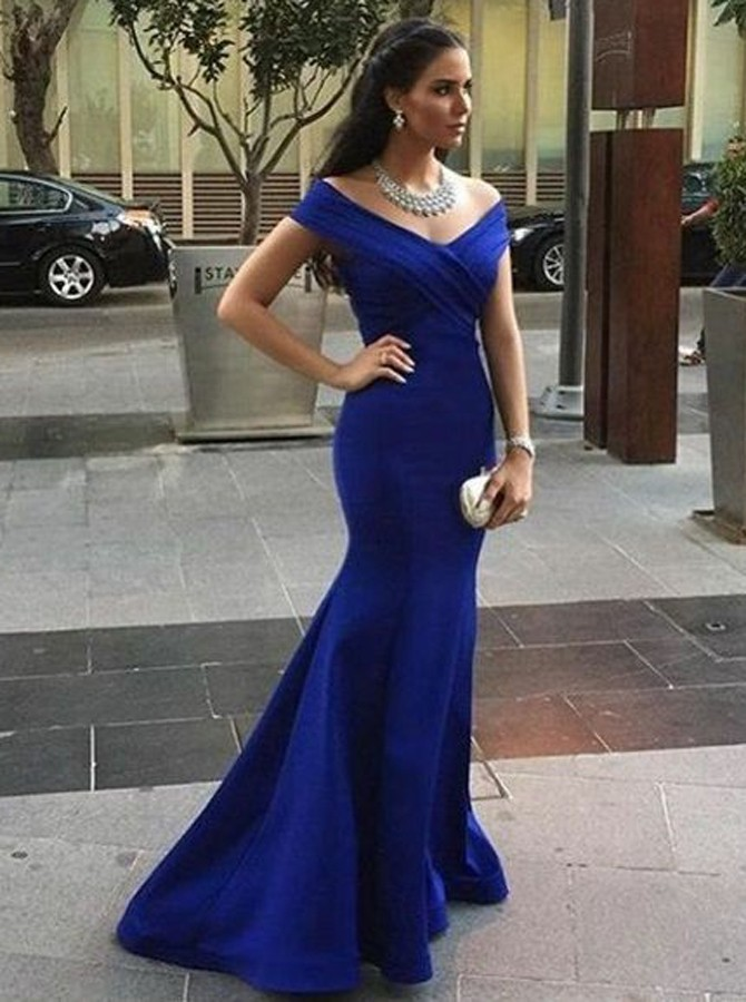 Mermaid Off-the-Shoulder Sweep Train Royal Blue Prom Dress with Ruched