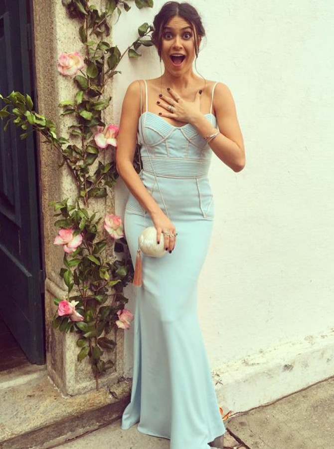 Mermaid Spaghetti Straps Floor-Length Blue Prom Dress with Ruched