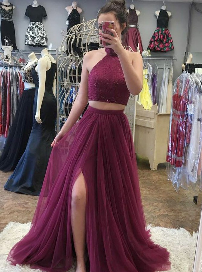 Two Piece High Neck Burgundy Tulle Prom Dress with Beading