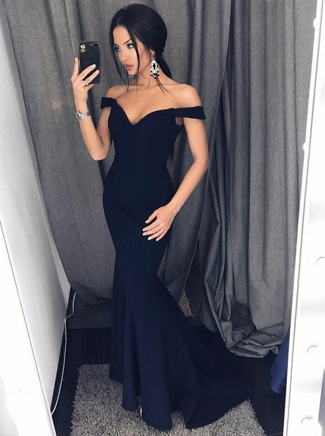 Mermaid Off-the-Shoulder Sweep Train Navy Blue Prom Dress with Ruched