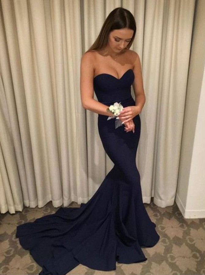 Mermaid Sweetheart Sweep Train Navy Blue Prom Dress with Ruched