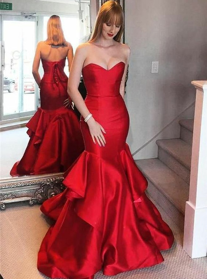 Mermaid Sweetheart Sweep Train Red Tiered Prom Dress with Ruched