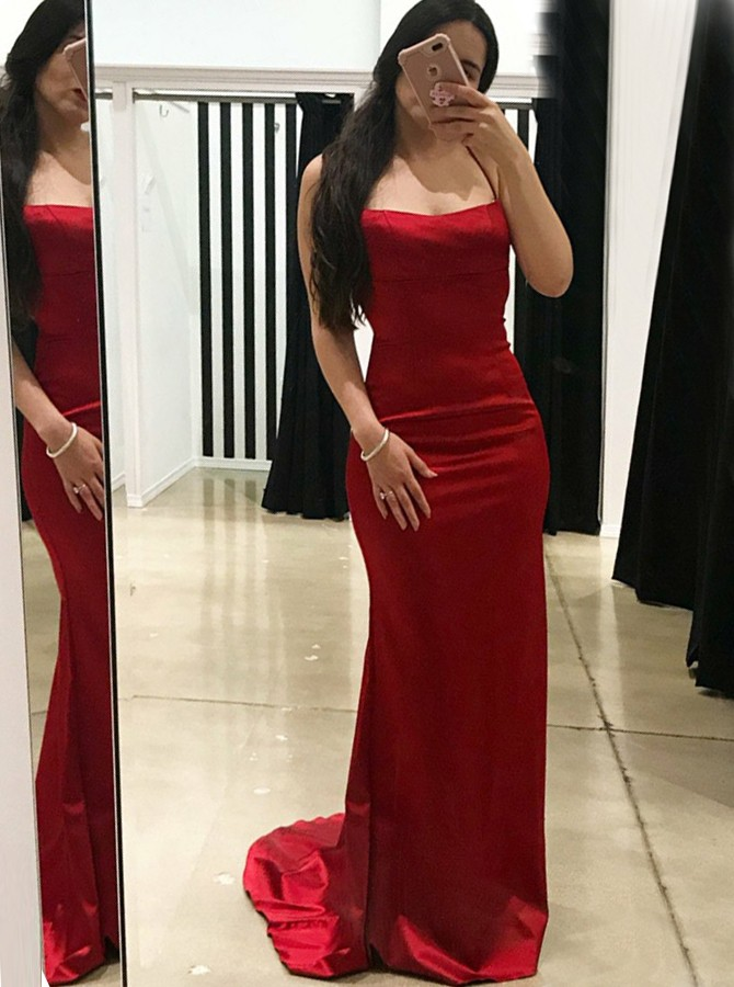 Sheath Spaghetti Straps Sweep Train Red Criss-Cross Straps Prom Dress