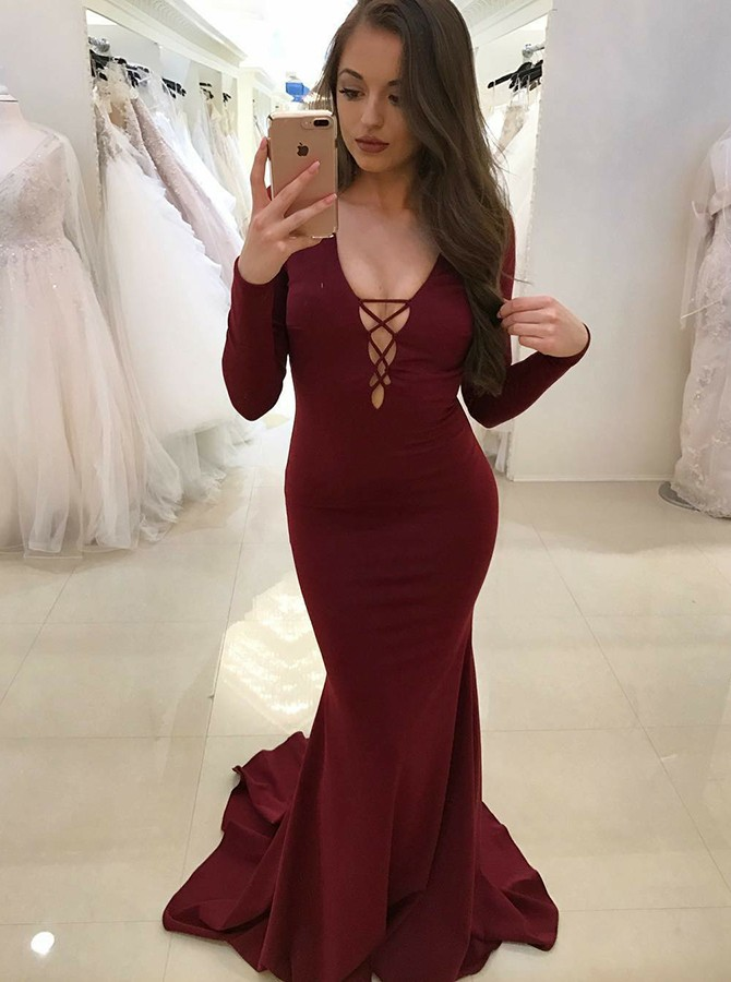 Mermaid V-Neck Backless Long Sleeves Burgundy Prom Dress with Pleats