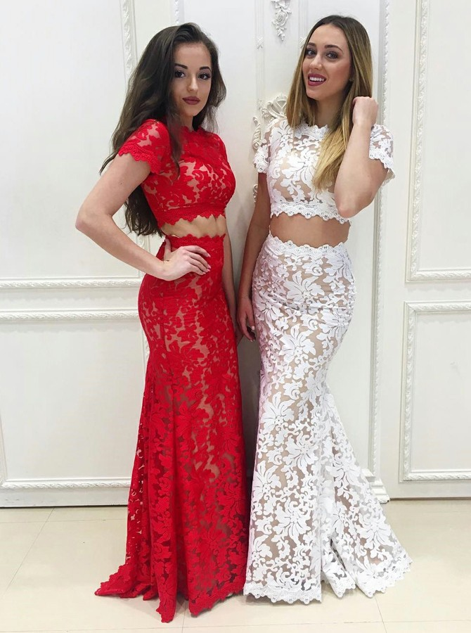 Two Piece Scalloped-Edge Short Sleeves Floor-Length Red Lace Prom Dress