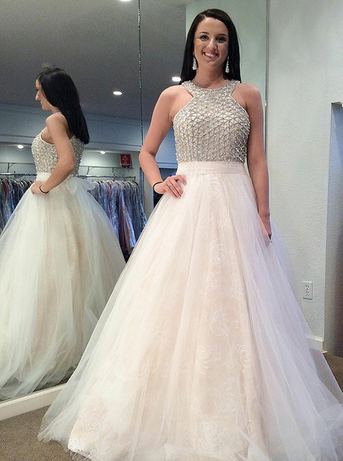 A-Line Jewel Floor-Length Ivory Tulle Prom Dress with Beading