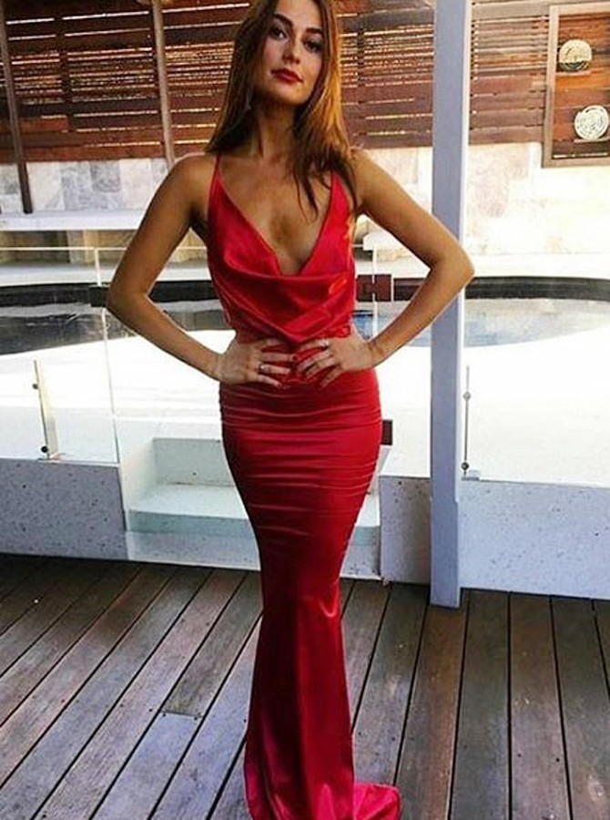 Mermaid Spaghetti Straps Floor-Length Red Prom Dress with Ruffles
