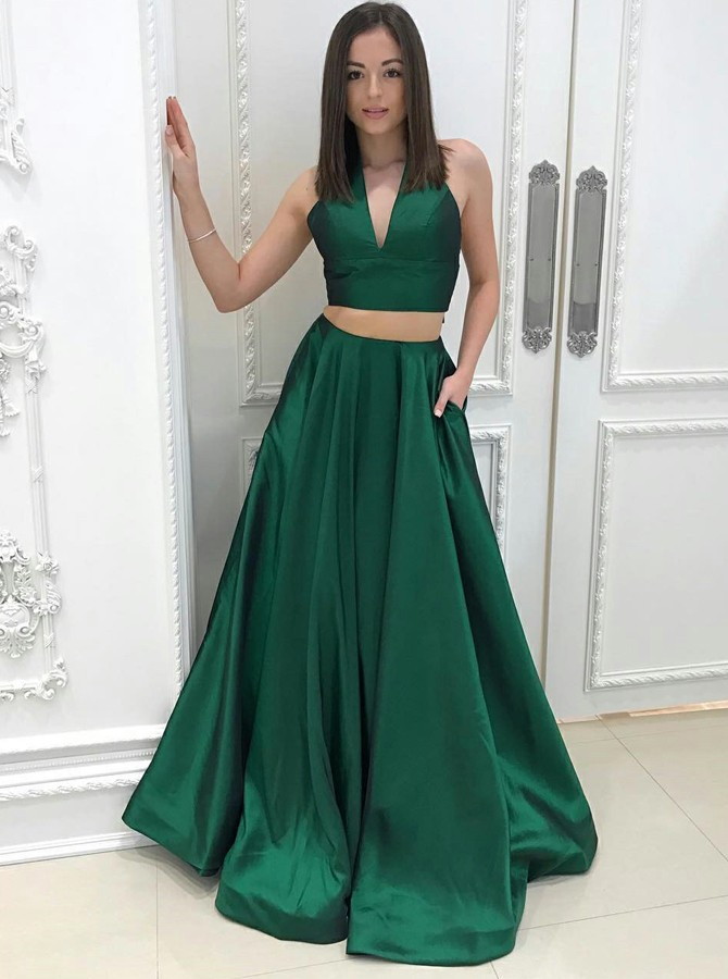 Two Piece Halter Sweep Train Hunter Satin Prom Dress with Pockets