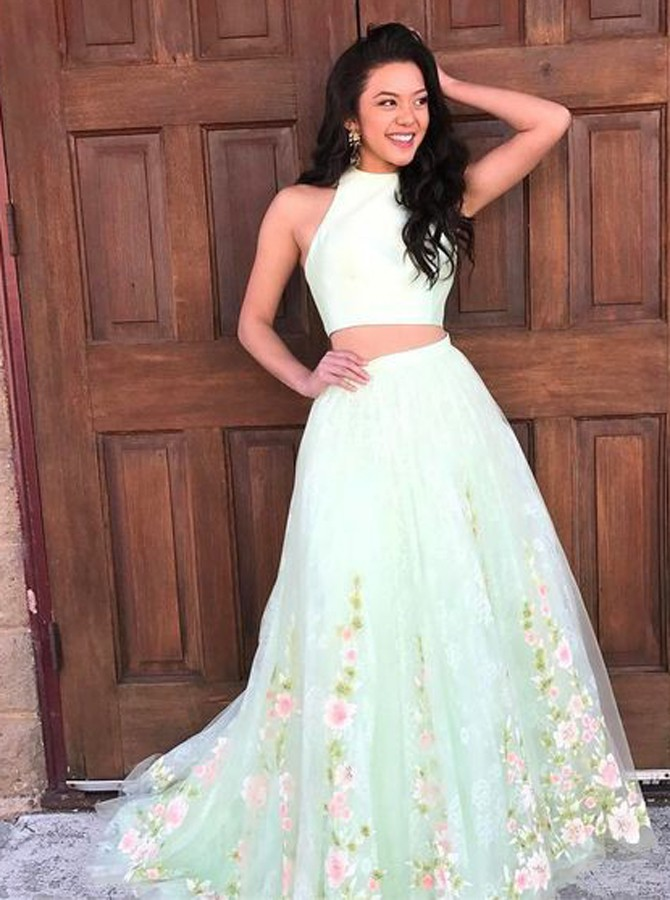 Two Piece Jewel Sweep Train Mint Green Floral Tulle Prom Dress