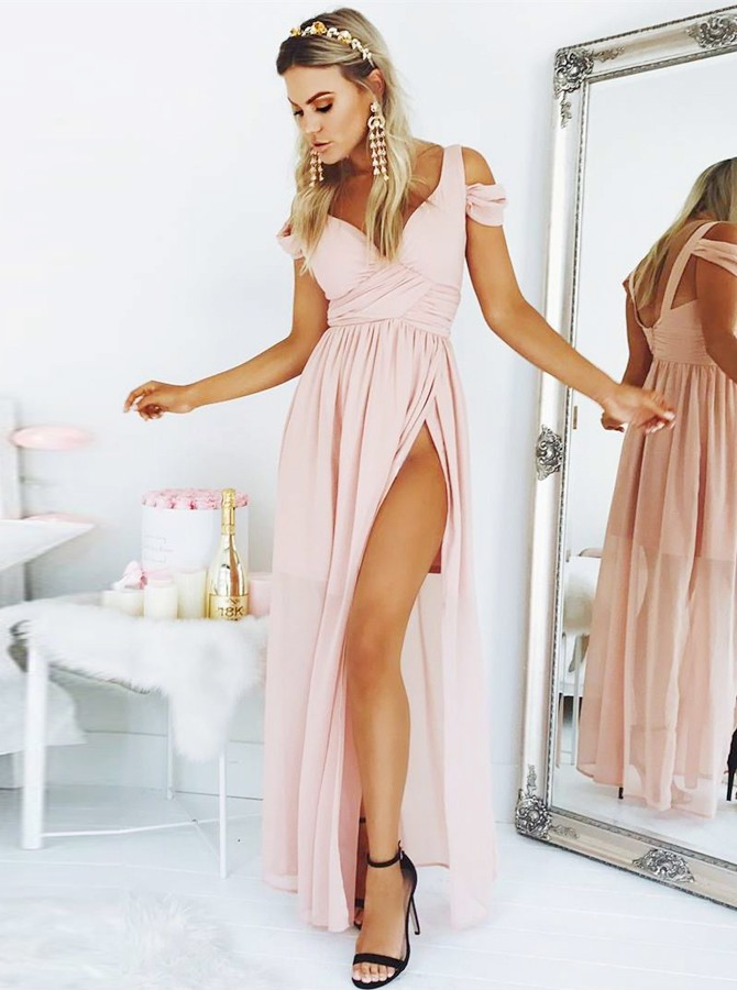 A-Line Straps Backless Floor-Length Pink Chiffon Prom Dress